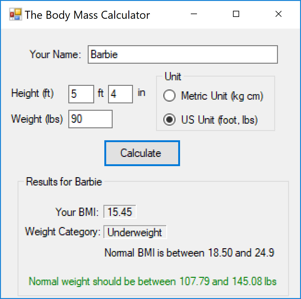 Example: User that is under weight