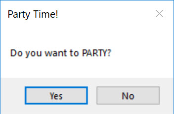 After saying Ok, the window dialog asks the user if they want to Party