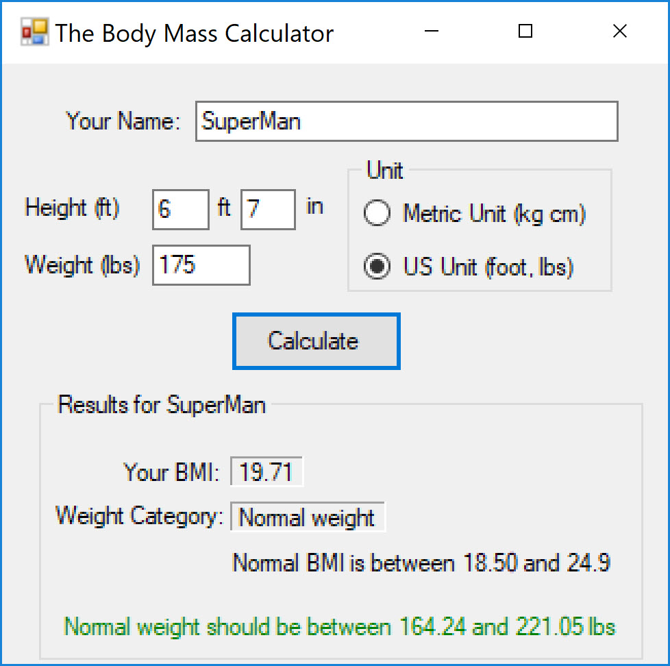 Example: User that is normal weight