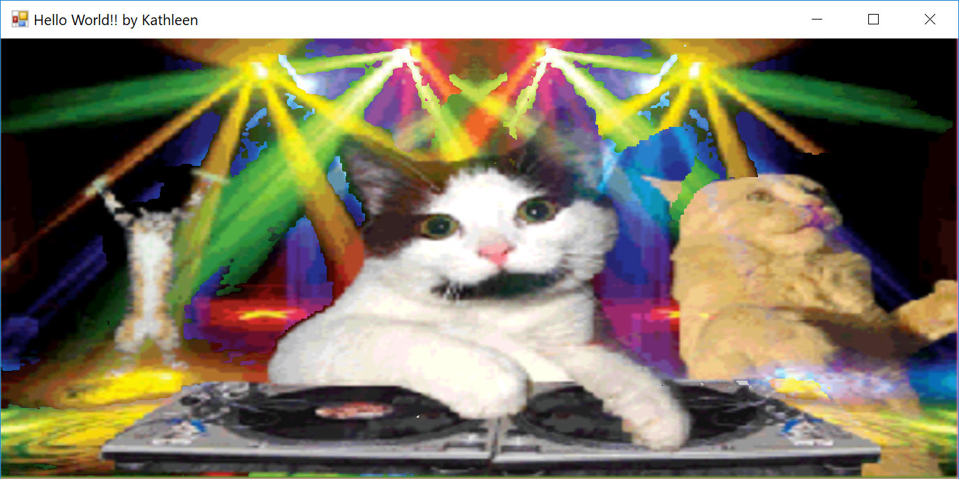 Final Form Main Window showing cats partying with animated gif